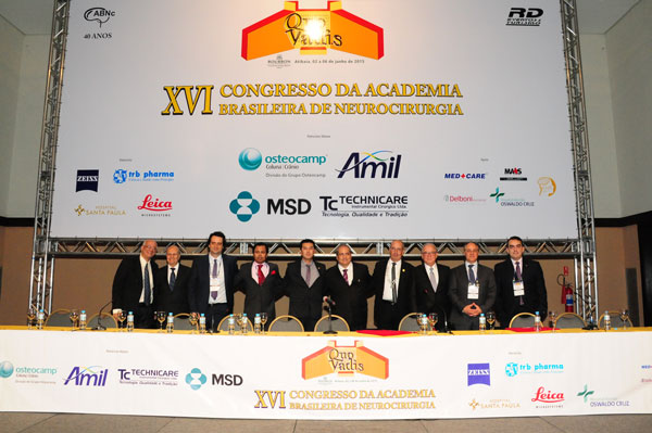 L to R​, Professors Edson Mendes Nunes (Secretary of ABNC), Modesto Cerioni Junior (President of Brazilian Society of Neurosurgery), Marcos Maldaun (President of SNOLA & Vice President of XVI Congress of Brazilian Academy of Neurosurgery), Saleem Abdulrauf (President of the Dandy Society), Representative-Saulo Pedroso (Governor of Atibaia District), Paulo Henrique Pires de Aguiar (President of XVI Congress of Brazilian Academy of Neurosurgery), Edgardo Spagnuolo (President of FLANC), Jose Marcos Rotta (National Honorary President of XVI Congress of Brazilian Academy of Neurosurgery), Marcos Tatagiba (International Honorary President of XVI Congress of Brazilian Academy of Neurosurgery), and Jean de Oliveira (Representative of Neurosurgical Society of Sao Paulo).