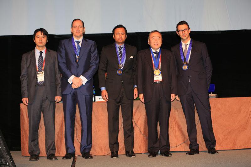 Pictured is Professor Jizong Zhou, the recipient of the 2012 Dandy Medal with the officers of the WEDNS.