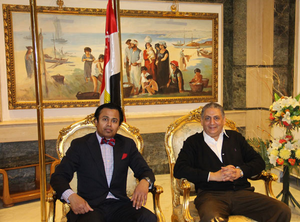 Dandy President, Professor Abdulrauf, in an official meeting with Major General Dr. Ezzat Abdel Khalik.