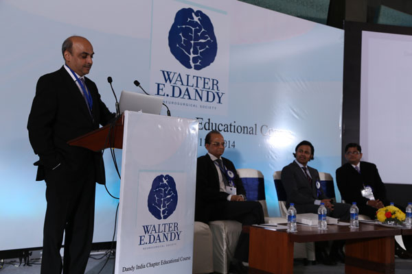 The Inaugural Dandy India Chapter Meeting Leadership: Professors Ghosh (India Chapter Chairman), Abdulrauf (Dandy President), Pande (2014 India Annual Meeting Chairman), and at the podium Professor Goel (India Chapter Secretary)